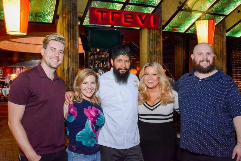 Shaun Burgess, Courtney Perna, Chef Jose Navarro, Rachel Smith and Jason Harris at TREVI Charity Pizza Cook Off
