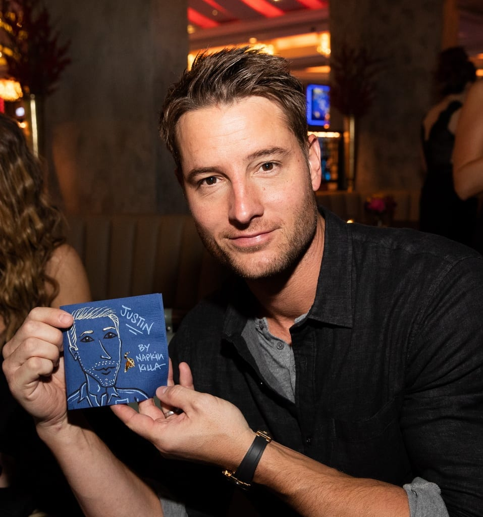 Justin Hartley with a custom drawing by Napkin Killa at the Mott 32 grand opening at The Venetian Resort Las Vegas, 12.28.18_Credit Erik Kabik