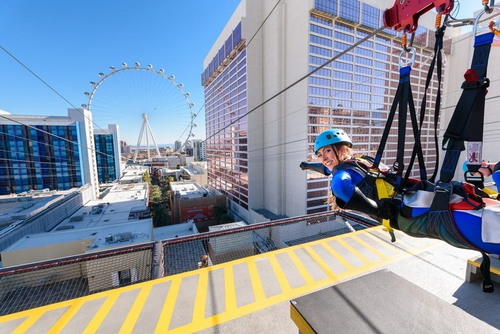"""""""Superheroes"""" Become the First to Fly into the New Year at the Brand-New FLY LINQ Zipline in Las Vegas. (Photo Courtesy of FLY LINQ)"""
