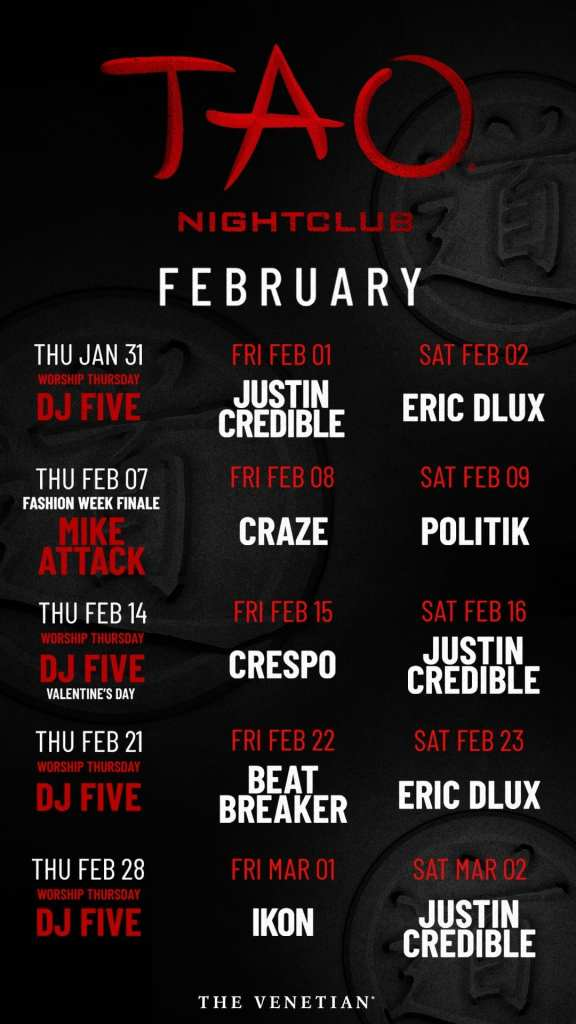February 2019 Calendar Vegas Justin Credible at TAO Las Vegas | Travelivery®