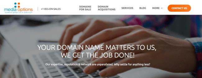 Изображение домашней страницы сервиса доменных имен Media Options