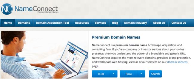 Изображение домашней страницы Name Connect - брокерская фирма премиум-доменов, рассказывающая об их услугах.