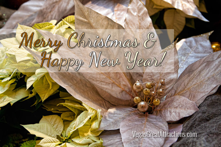 Las vegas Winter holidays-- Merry Christmas and Happy New Year greeting card