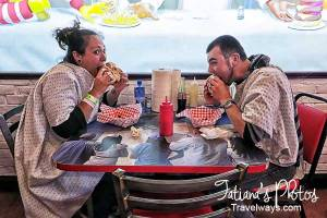 Eating and having fun at Heart Attack Grill on Fremont Street Experience, Las Vegas,