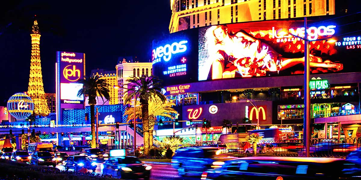 Las Vegas Activities traffic and neon signs at night
