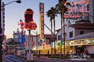 The Red Shoe and other neon signs on Fremont Street, Las Vegas