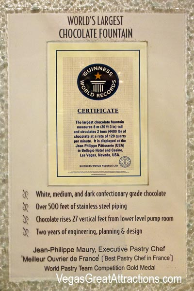 Bellagio Chocolate Fountain Guinness Certificate