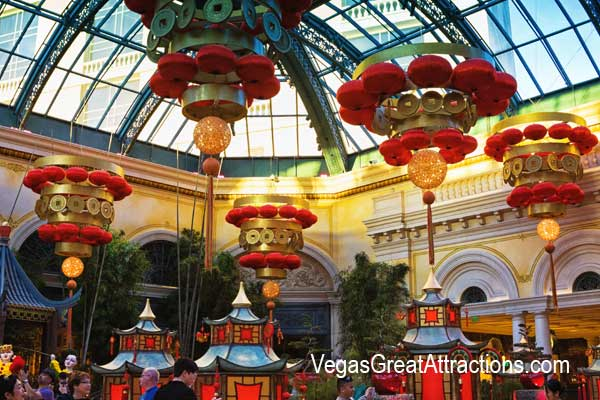 Chinese New Year decorations at Bellagio Gardens and Conservatory