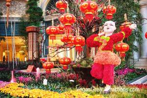 Chinese New Year decorations at Bellagio Gardens and Conservatory 2015 - Kids and lanterns