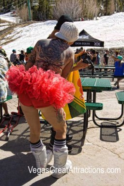 Funny costume at the Las Vegas Ski and Snowboard Resort closing party