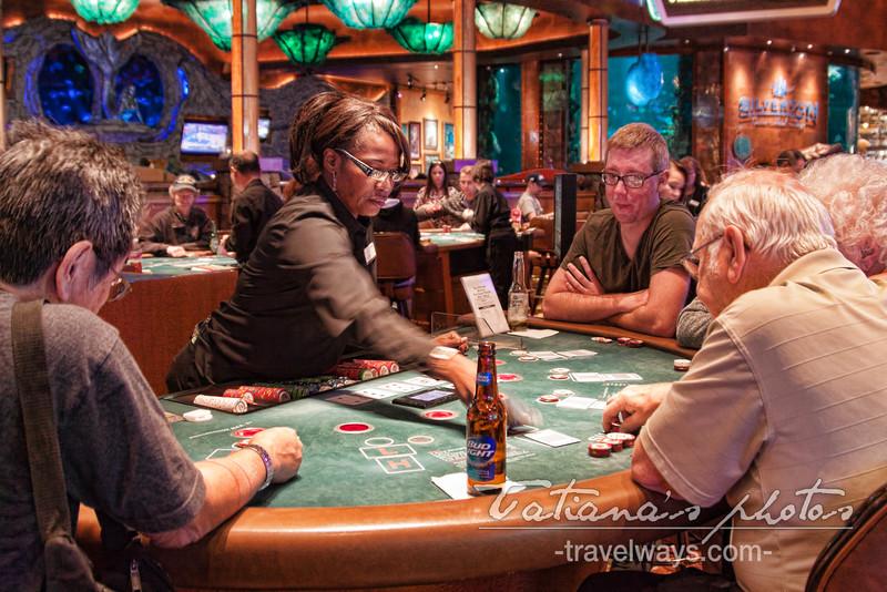 Playing at the table at Silverton Casino, Las Vegas