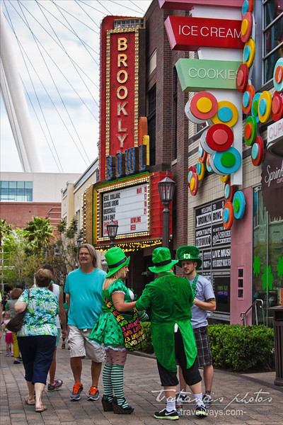 People wearing green at the Linq Promenade on St.Patrick.s Day