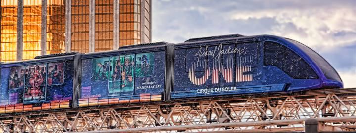 Monorail on Las Vegas Strip in the rain