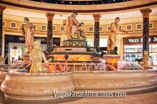 Roman water fountain at Caesars Palace Forum Shots