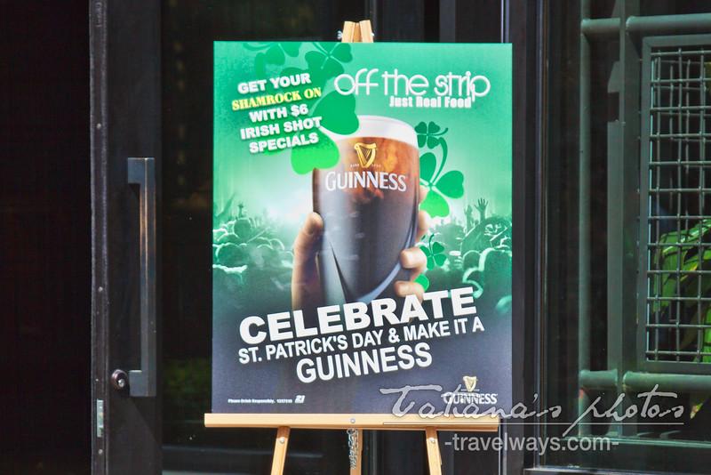 Off the Strip pub on Linq Promenade on St. Patrick's Day