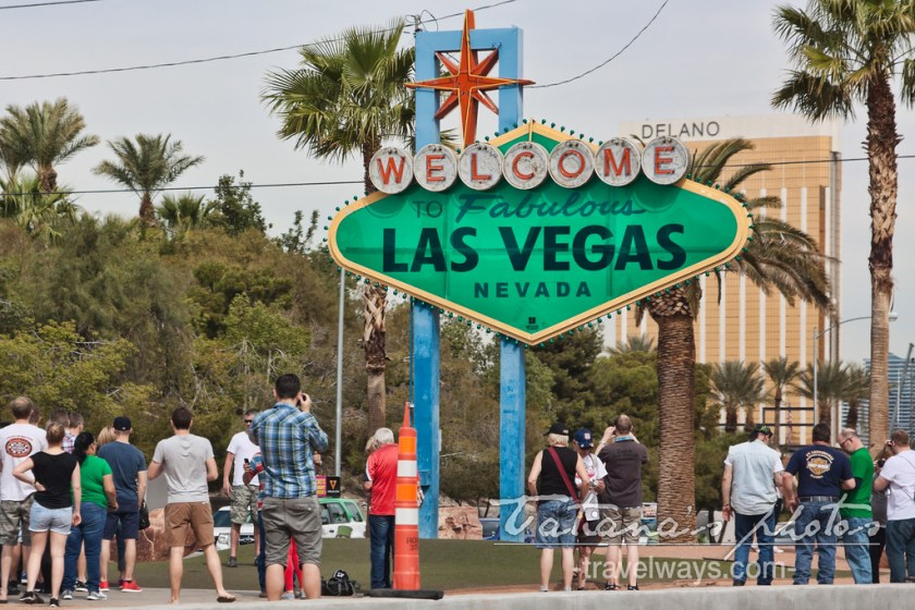 Green Welcome sign on St.Patrick's Day Las Vegas