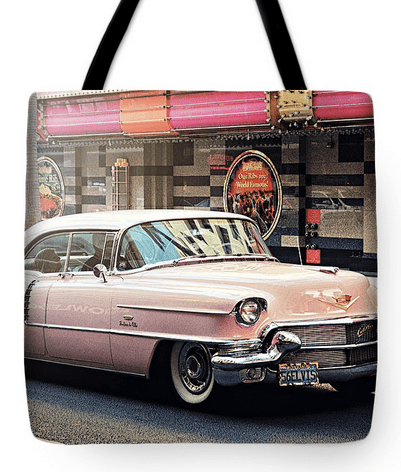 Elvis Pink Cadillac Tour On Fremont Street Experience Tote Bag