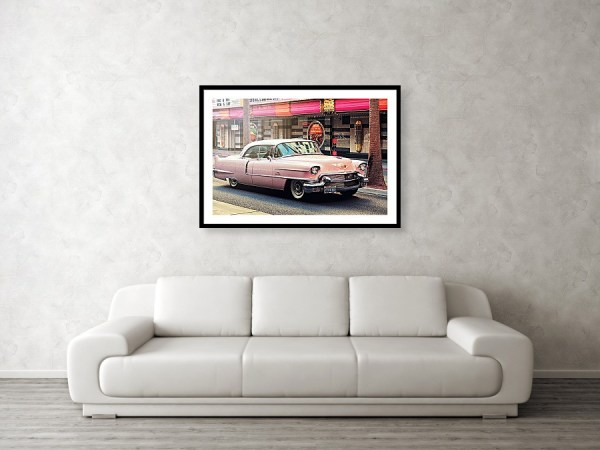 Elvis Pink Cadillac tour on Fremont Street Experience Framed Art Print