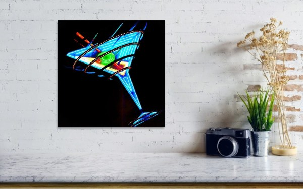Martini glass art print on the wall