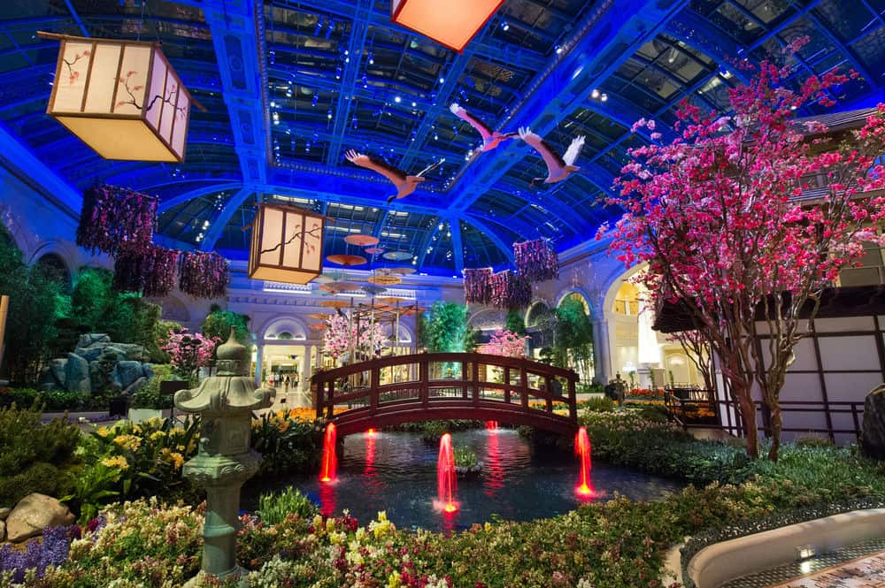 Conservatory Garden and Fountains at the Bellagio - Couples Things to do in Vegas