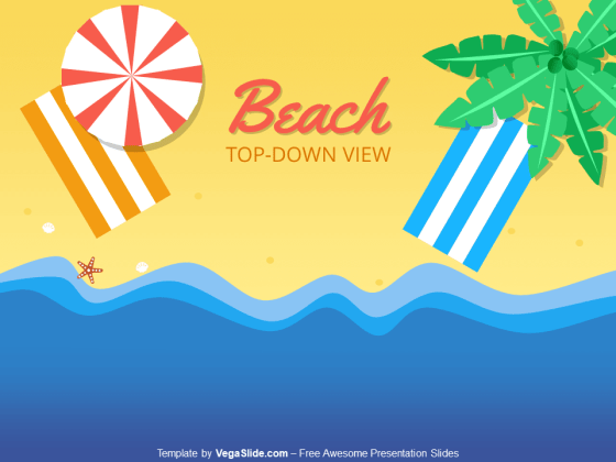 Beach Top-Down View PowerPoint Template