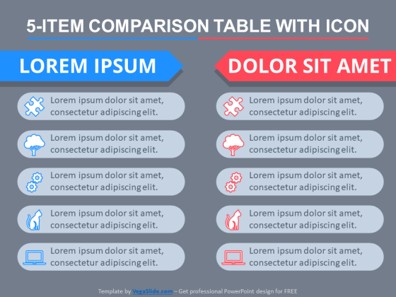 5-Item Comparison Table With Icons PowerPoint Template