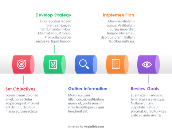 5 Steps Pipe Process PowerPoint Template