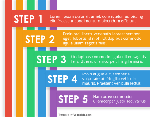 5-Step Colorful Stripes PowerPoint Template