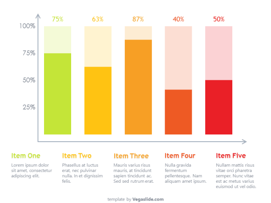 Gradient-Colored Chart Column PowerPoint Template