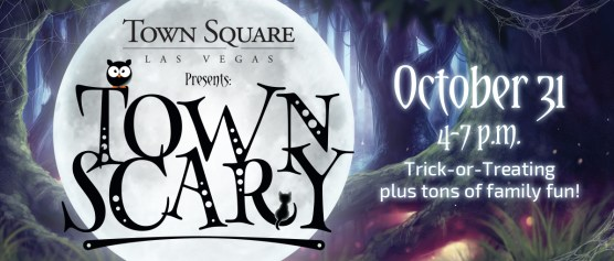Town Scary poster with full moon, date and times