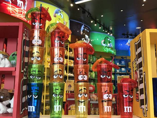 M&M World Las Vegas-colorful M water cups stacked high in the store