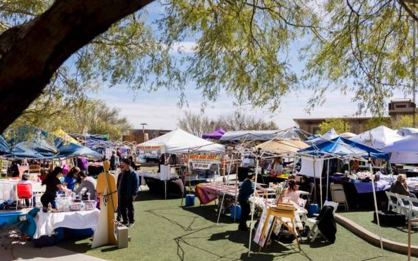 ARtisan Craft festival tents, outside with lots of shoppers