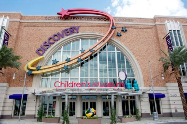 The front entrance of Discovery Children's Museum, colorful, stars