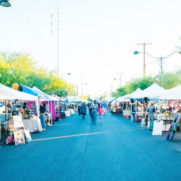 First Fridays in the Arts District, vendor tents along the streets