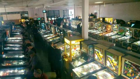 Pinball Hall of Fame Museum- rows of playable pinball machines lit up.