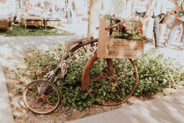 vintage market days tricycle with planter basket in front