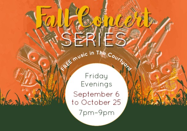 Poster for Fall Concert Series at the District in fall colors with dates and times