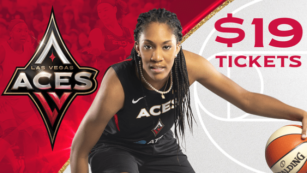Las Vegas Aces logo and player dribbling a basketbal