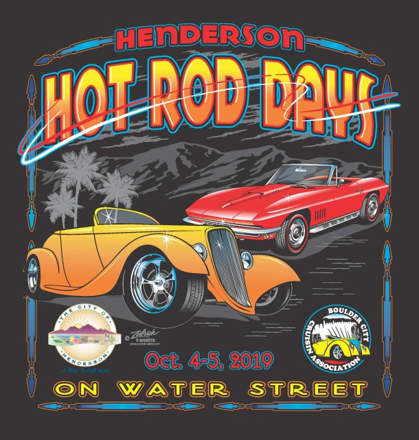 Henderson Hot Dog days poster with red and orange got rod cars