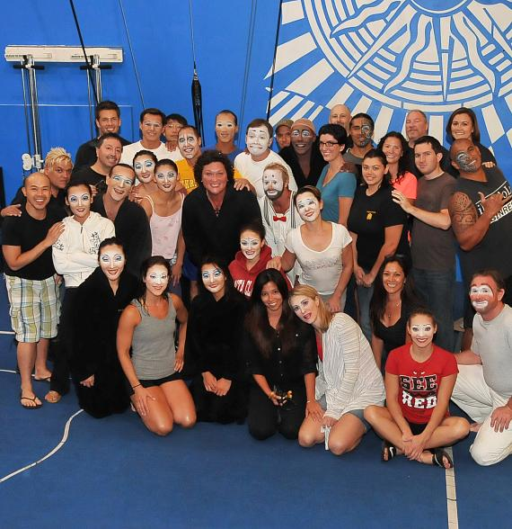 """Dot Jones gives a contortionist a lift at """"O"""" by Cirque du Soleil at Bellagio Hotel & Casino"""