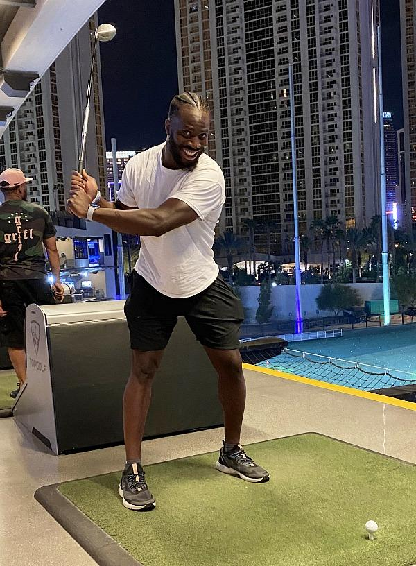 Las Vegas Raider Prince Amukamara Plays Golf at Topgolf