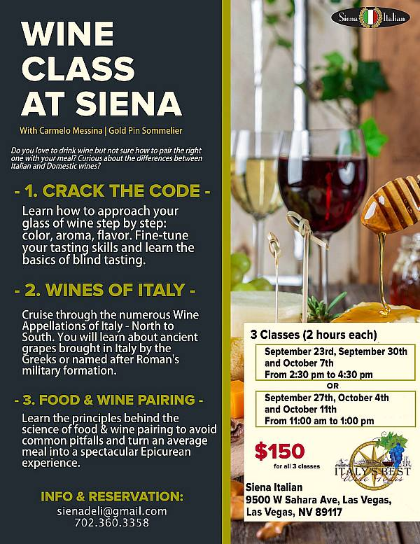 Siena Italian Trattoria To Host Wine Class Series with Gold Pin Sommelier