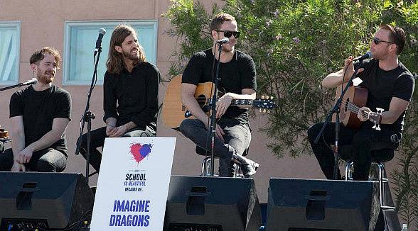 "Imagine Dragons Perform at Three Schools chosen for ""Our School is Beautiful"" by Life is Beautiful and Communities In Schools of Nevada"