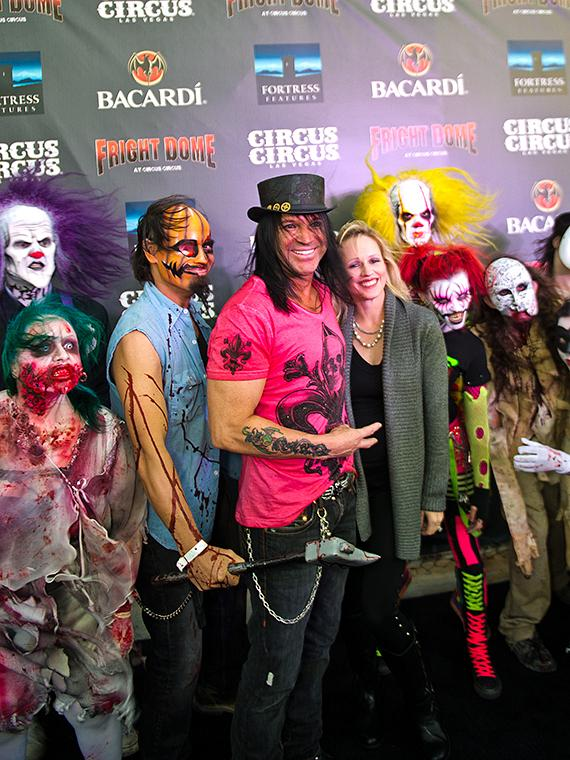 Lenny Windsor, Chloe Louise Crawford and Murray SawChuck with zombies at Fright Dome