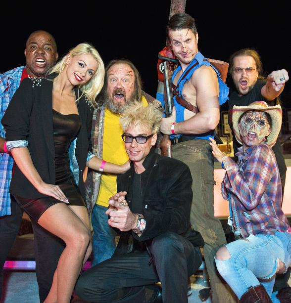Murray SawChuck and Chloe Louis Crawford pose with cast members of Evil Dead: The Musical