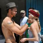 Chad Michael Murray and girlfriend at Azure pool