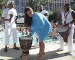 Christina with drums at Luxury Pool at The Palazzo