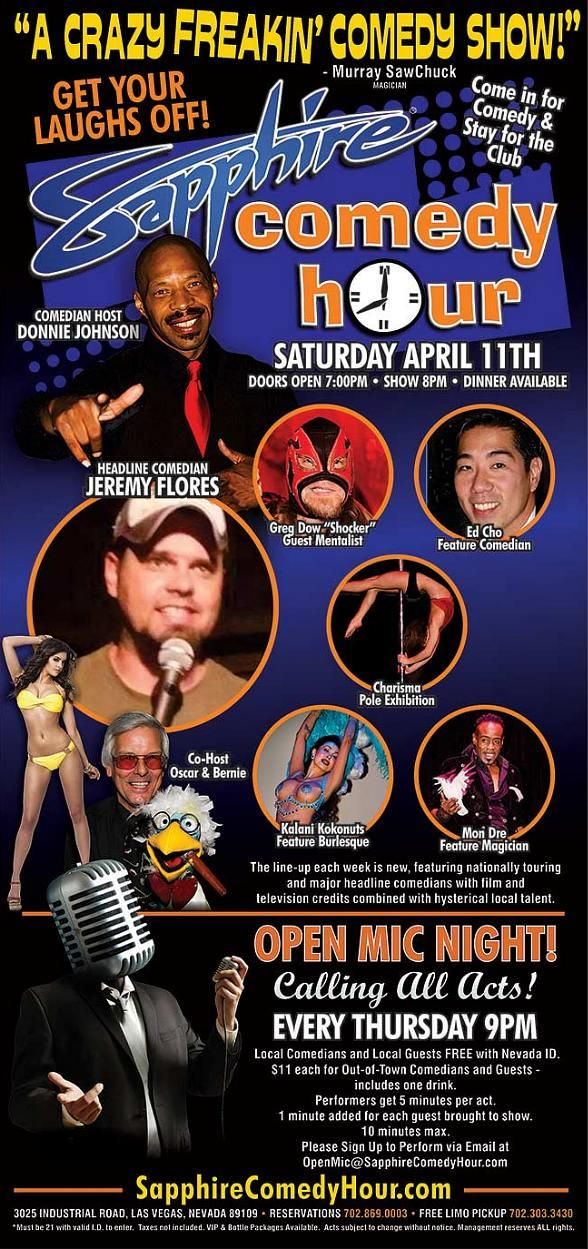 Comedian Jeremy Flores to Headline Sapphire Comedy Hour, Saturday April 11