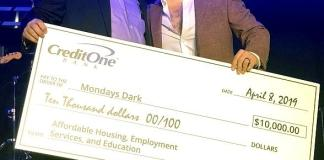 Credit One Bank Presents $10,000 Check to Mondays Dark at The Space in Las Vegas