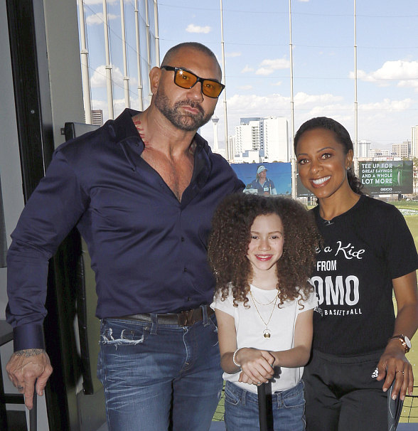 WWE Wrestling Legend and Actor Dave Bautista Plays Golf at Topgolf Las Vegas